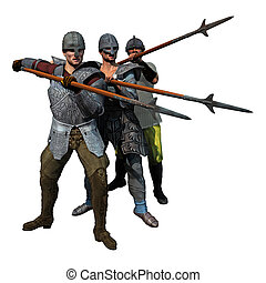 Medieval Spearmen at the ready, 3D render of three armoured...