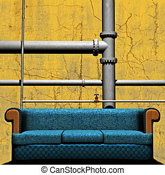 Couch In front of Pipework - 3D Abstract concept of a settee...
