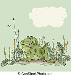 Funny frog - Funny hand drawn frog in green grass