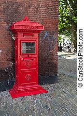 red mailbox - vintage red mailbox in delfshaven, netherlands...