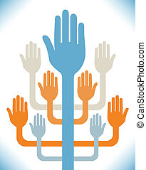 Hands and arms tree design.