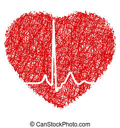 Heart scribble with heart beat. EPS 8 vector file included