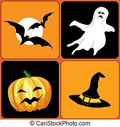 Halloween icons - A vector illustration of Halloween...