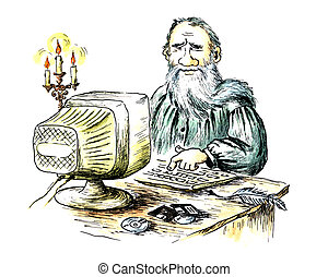 Ancient writer behind the computer - Comic water-colour...