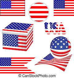 Flag USA. - Set of flags USA on a white background. Flags of...