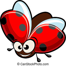 Funny cartoon ladybug isolated on white for design