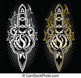 Dagger with rose design - A tatto style design dagger...