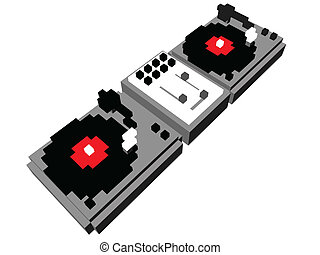 Cartoon DJs double turntable - Cartoon style DJ double...