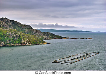 Salmon farm on Loch Diabaig - Aerial view of Loch Diabaig,...