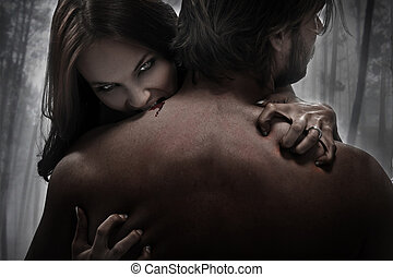 femme, vampire, morsure
