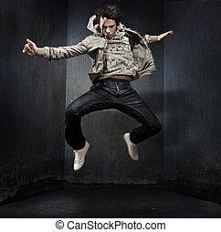 jovem, hip-hop, dançarino, sobre, grunge, parede
