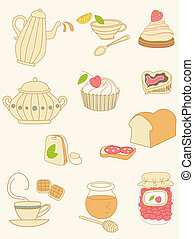 coffee and tea doodles - set of coffee and tea doodles