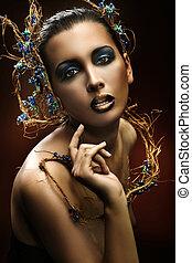華麗, 美麗, 肖像, 年輕, 黑發淺黑膚色女子
