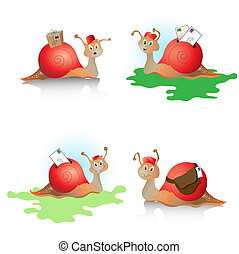 Snail mail - Cartoons snails with mail. Concept depicting...