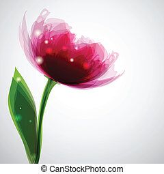 Peony - Background with transparent flower\'s shape and...