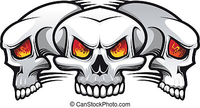 Evil skulls - Danger evil skulls as a tattoo isolated on...