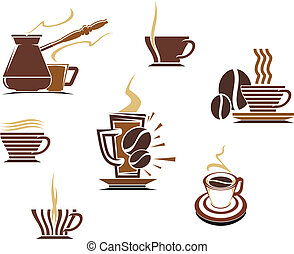 Coffee and tea symbols and icons