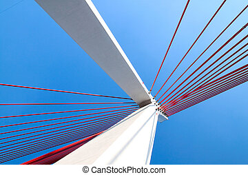 Suspension bridge with cables reaching to the deck of the...