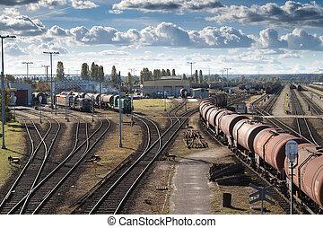 Transportation on a railway. Big station.
