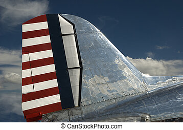 DC3 Tail Section - Vintage cargo aircraft DC-3 on static...