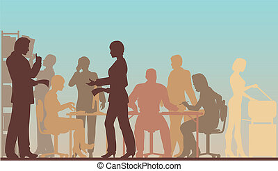 Working office - Editable vector silhouettes of people in a...