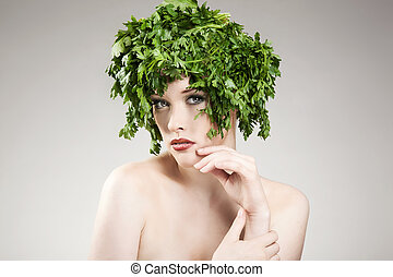 Beautiful parsley haired woman posing