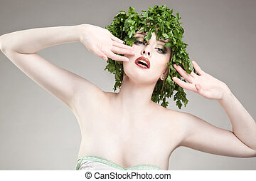 Portrait of parsley haired woman