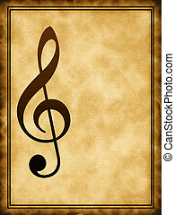 Treble clef on the background - Treble clef on the old...