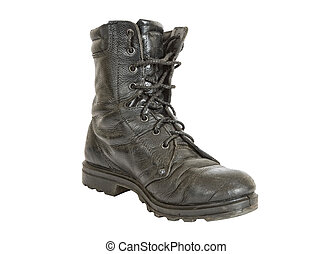 Black Army boots isolated on white background