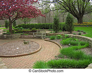 Garden Landscape - A photograph of a peaceful flower garden.