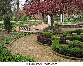 Garden Landscape - A photograph of a peaceful flower garden.