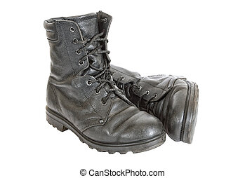 Black army boots on White background - Old black army boots...