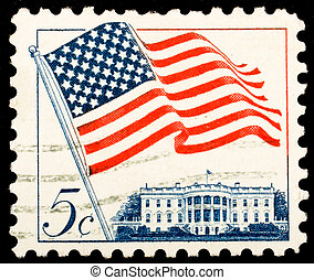 USA - CIRCA 1963: A Stamp printed in USA shows the Flag over...