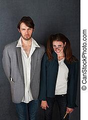 Uncomfortable Couple - Uncomfortable nerd man and woman...