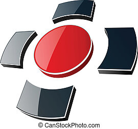 logo - Logo 3d, glossy cross black and red colors.