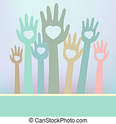 Loving hands with copy space. EPS 8 vector file included