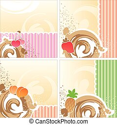 dessert - set of backgrounds with a dairy dessert, fruit and...