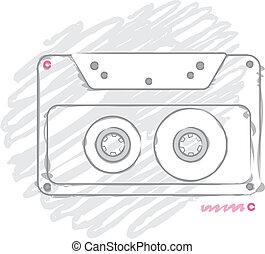cassette - illustration with a stylized gray compact...