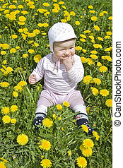 Baby sitting in meadow with dandelions