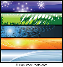 Banners, headers colorful abstract set, vector