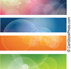 Banners, headers abstract lights, vector