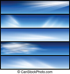 Banners, headers blue clouds set, vector