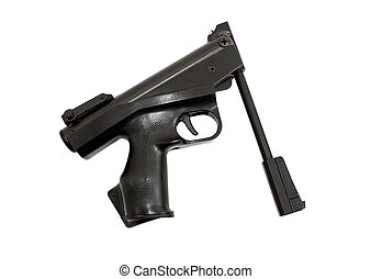 Russian air pistol isolated on the white background