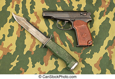 Army knife and handgun