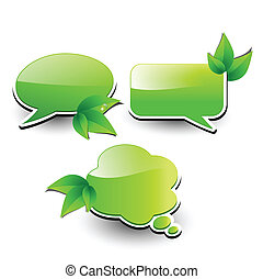 Web elements, chat bubbles with leaves, vector.