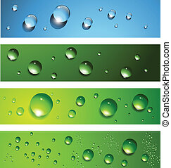 Banners, headers with dew, water drops, vector.