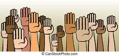 Raise Your Hands - Raised arms and hands in a variety of...