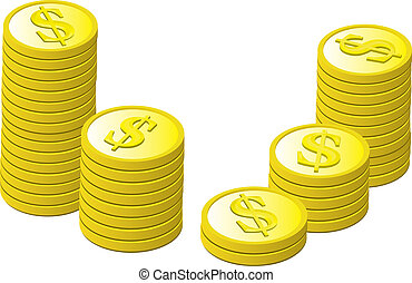 Gold Coins Stacked - Stacked generic gold coins with dollar...