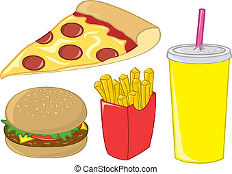 Fast Food Items - Common American fast food menu items.