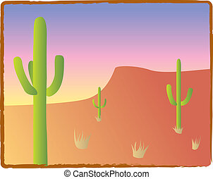 Southwest Cacti - Three saguaro cacti in an American...